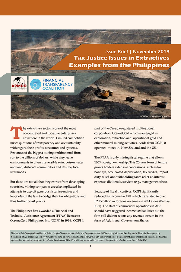 Tax Justice Issues in Extractives: Examples from the Philippines (Issue Brief 2019 Nov)
